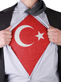 Business man with Turkish flag t-shirt — Stock Photo