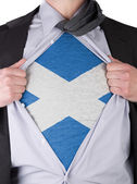 Business man with Scottish flag t-shirt — Stock Photo
