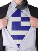 Business man with Greek flag t-shirt — Stock Photo
