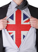 Business man with English flag t-shirt — Stock Photo