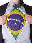 Business man with Brazilian flag t-shirt — Stock Photo
