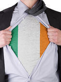 Business man with Irish flag t-shirt — Stock Photo