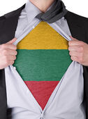 Business man with Lithuanian flag t-shirt — Stock Photo
