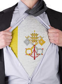 Business man with Vatican City flag t-shirt — Stock Photo
