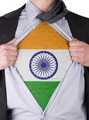 Business man with Indian flag t-shirt — Stock Photo