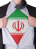 Business man with Iranian flag t-shirt — Stock Photo