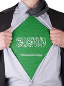Business man with Saudi Arabian flag t-shirt — Stock Photo