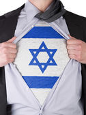Business man with Israeli flag t-shirt — Stock Photo