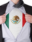Business man with Mexican flag t-shirt — Stock Photo