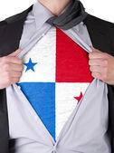 Business man with Panamanian flag t-shirt — Stock Photo