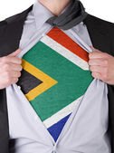 Business man with South African flag t-shirt — Stock Photo