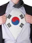 Business man with South Korean flag t-shirt — Stock Photo