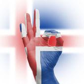 Hand OK sign with Icelanic flag — Stock Photo