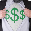 Business man with dollar sign t-shirt — Stock Photo