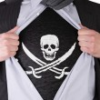 Business mwith Pirate flag t-shirt — Stock Photo #20401145