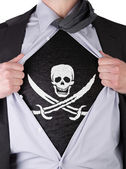 Business man with Pirate flag t-shirt — Stock Photo