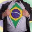 Business mwith Braziliflag t-shirt — Stock Photo #21692311
