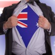 Business man with Australian flag t-shirt - Stock Photo