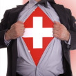 Business man with Swiss flag t-shirt - Stock Photo