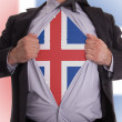 Business man with Icelandic flag t-shirt - Stock Photo