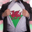Business man with Welsh flag t-shirt - Stock Photo