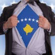 Stock Photo: Business mwith Kosovo flag t-shirt