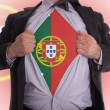 Stock Photo: Business mwith Portuguese flag t-shirt