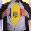 Stock Photo: Business mwith Moldaviflag t-shirt