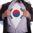 Business mwith South Koreflag t-shirt — Stock Photo #22017009