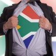 Stock Photo: Business mwith South Africflag t-shirt