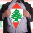 Business man with Lebanese flag t-shirt — Stock Photo