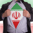 Stock Photo: Business mwith Iraniflag t-shirt