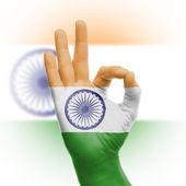Segno ok mano con bandiera indiana — Foto Stock