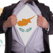 Business man with Cypriot flag t-shirt - Stock Photo