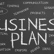 Business plan chalkboard — Stock Photo