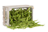 Fresh green beans in a crate — Stock Photo