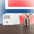 Cookbook and kitchen utensils with Norwegian flag — Stock Photo