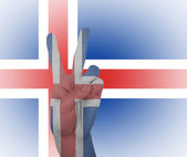Hand peace sign with flag of Iceland — Stock Photo