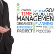 Businessman next to time management word cloud — Stok fotoğraf