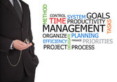 Businessman next to time management word cloud — Stock Photo