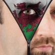 Unzipping face to flag of Wales — Stock Photo