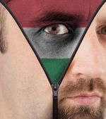 Unzipping face to flag of Hungary — Stock Photo