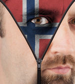 Unzipping face to flag of Norway — Stock Photo