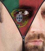 Descompactação cara a bandeira de portugal — Fotografia Stock