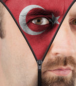 Unzipping face to flag of Turkey — Stock Photo