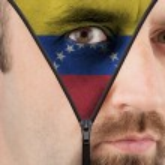 Постер, плакат: Unzipping face to flag of Venezuela
