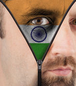 Unzipping face to flag of India — Foto de Stock