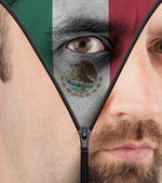 Unzipping face to flag of Mexico — Stock Photo