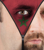 Unzipping face to flag of Morocco — Stock Photo