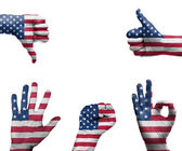Hand with the flag of the USA — Stock Photo